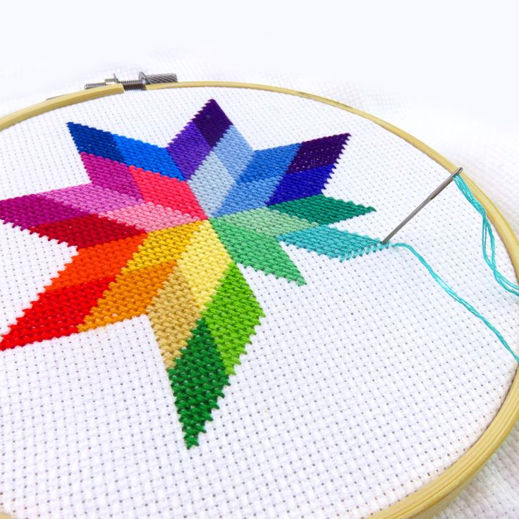 WIP – progress on my quilted star rainbow cross stitch pattern.