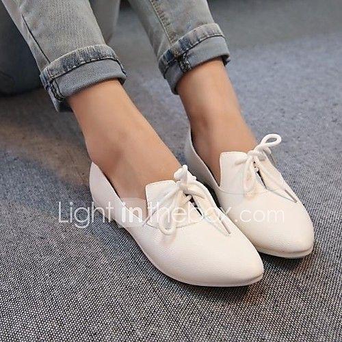 zapatos de las mujeres señalaron toe oxfords planos del talón con los zapatos con cordones más colores disponibles 2017 - $22.99