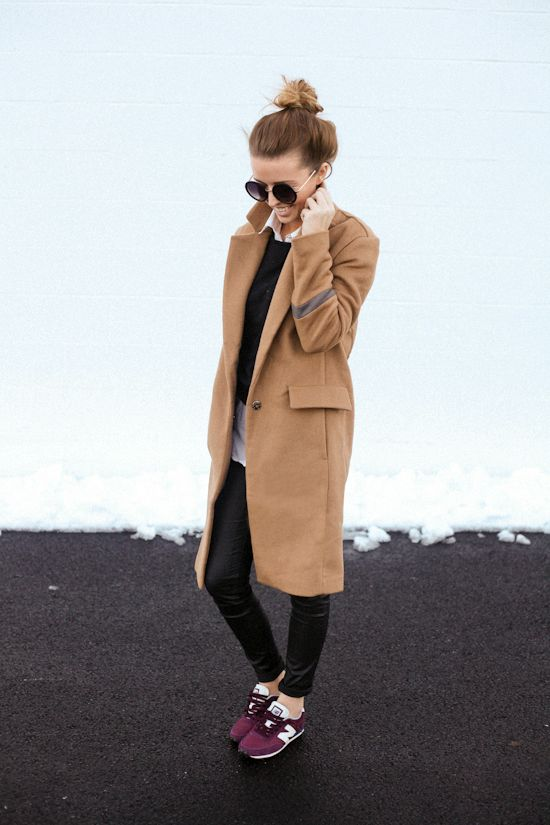 Long camel coat, burgundy tennis shoes, and black pants // The perfect outfit for running errands
