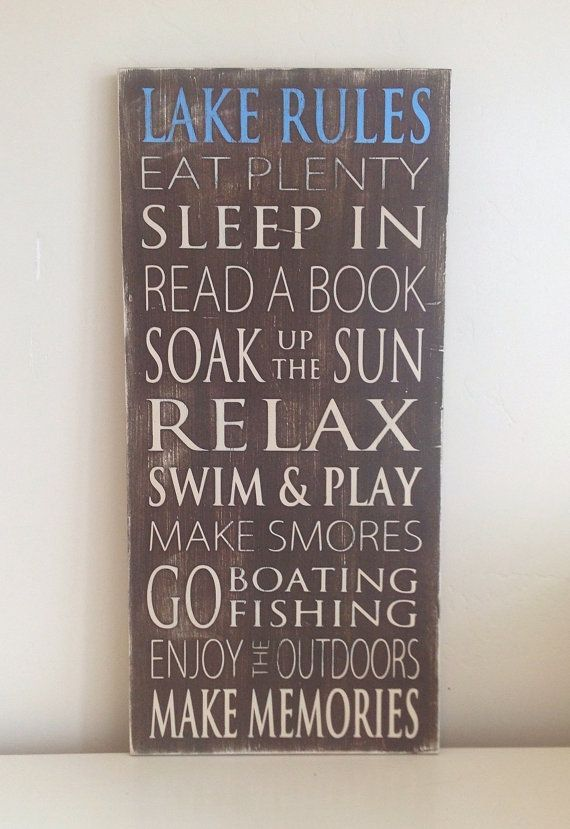 Lake Rules Typography Art Wood Sign  Distressed by WordWhipped, $60.00