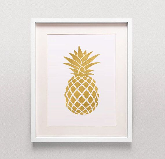Goldene Ananas Print / Gold Ananas druckbare / Gold Ananas Kunst / Gold Ananas Poster / Ananas herunterladen / Gold Küche Kunst