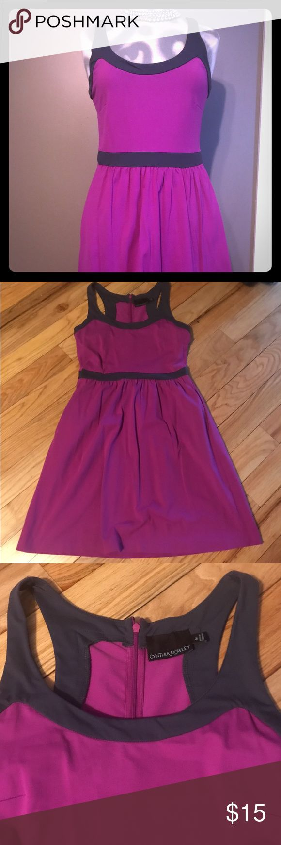 Cynthia Rowley Zipper Back Purple & Grey Dress This a beautiful purple and grey zipper back dress, size medium. The dress has pockets and is great for the office or a night out with friends. Cynthia Rowley Dresses