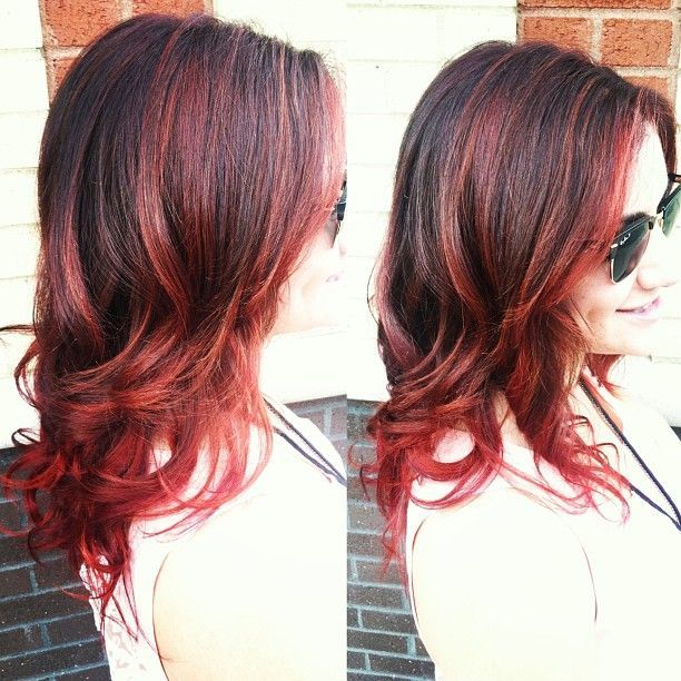 Dark Brown Hair With Cherry Red Highlights And Ends By