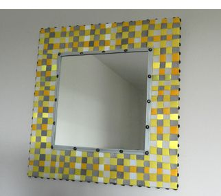 Evelyne Parguel yellow leather mirror absolutearts.com