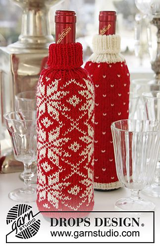 Christmas Bottle Covers by DROPS design FREE KNIT PATTERN great idea to gift wrap any bottle you give as a Christmas present it gives it that personal touch