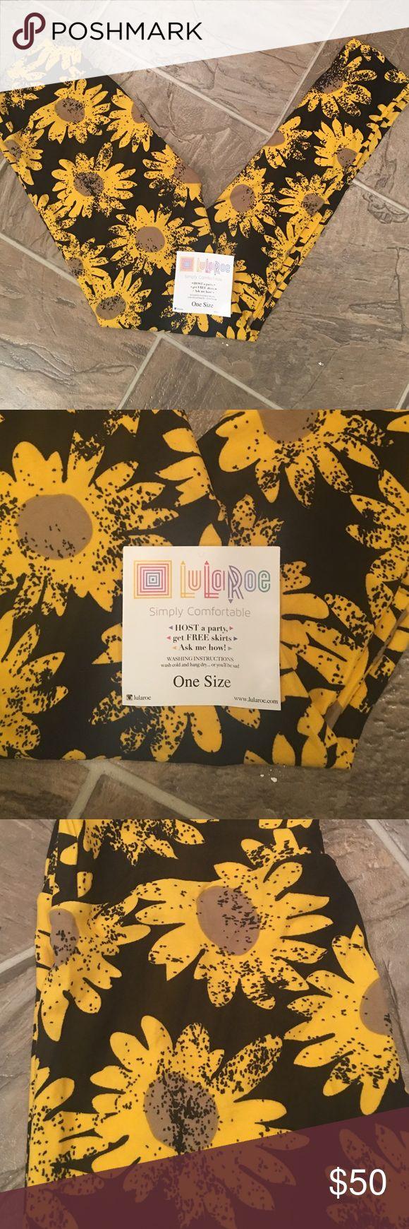 LuLaRoe Unicorn Sunflower Leggings BNWT- Never Worn- One Size- Black Background- Yellow Sunflowers LuLaRoe Pants Leggings