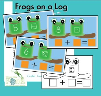 Frogs on a Log - counting on for addition  This is a printable math center activity or small group game to play with a small group oran individual student to learn the addition strategy of '...