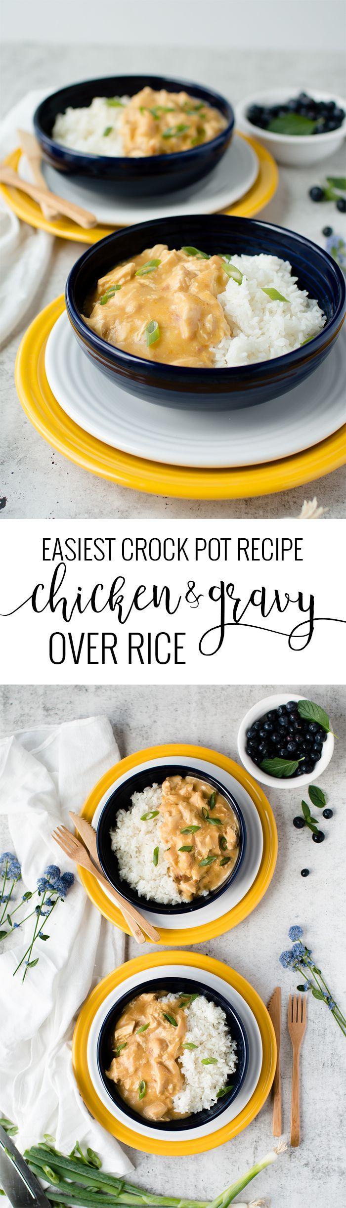 Slow Cooker Chicken & Gravy Over Rice