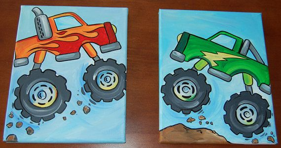 decoritive monster truck paintings for boys room by Fountain33