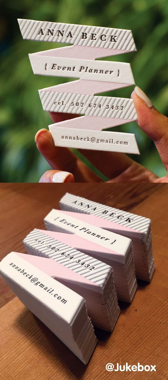 Personalize your business cards with a custom die-cut shape, like these cute letterpressed ribbon shaped cards created for an event planner!  Designed and Produced by @Jukeboxprint: