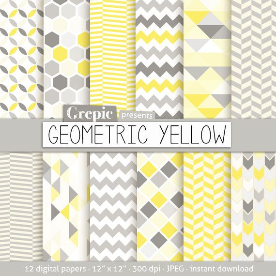 "Geometric digital paper: ""GEOMETRIC YELLOW"" digital paper pack with yellow gray geometric patterns and yellow gray digital paper backgrounds"