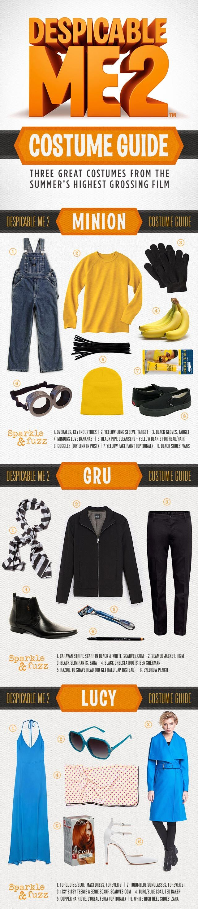 An awesome costume guide for the whole family, Ladies, look fly in this Foxy Lucy Wilde costume, and dress your man as this cool version of Gru! Also check out our easy Minion DIY for the kids! You'll be the most despicable family on the block.