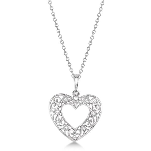 .10ct Diamond Necklace Heart Design with Filigree in Sterling