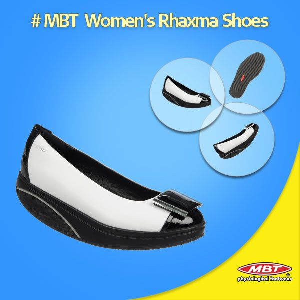New stylish Rhaxma Black White for Women's. Patent and full grain leather upper with a microfiber footbed and our signature MBT ® patented rocker sole.