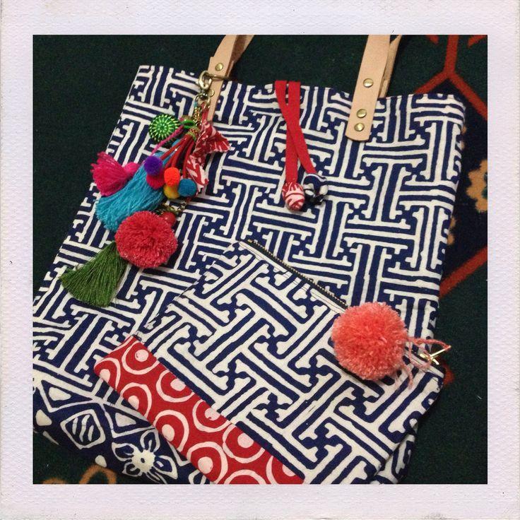 Batik Garut small Tote bag with tassel and pompom