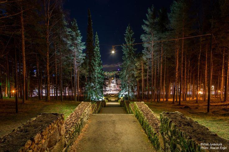 Harju steps by night time. ©Visit Jyväskylä Photo: Atacan Ergin.