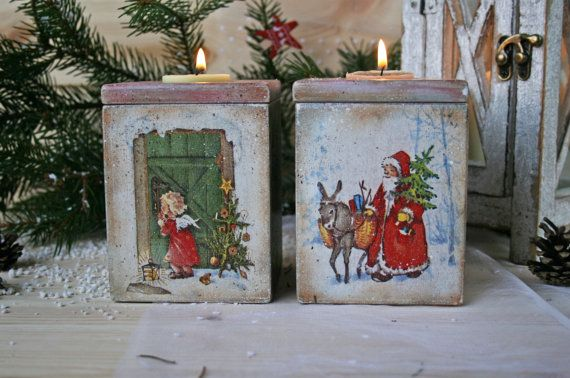 Wooden candle holder Holidays decor Vintage style от DecoDvorik
