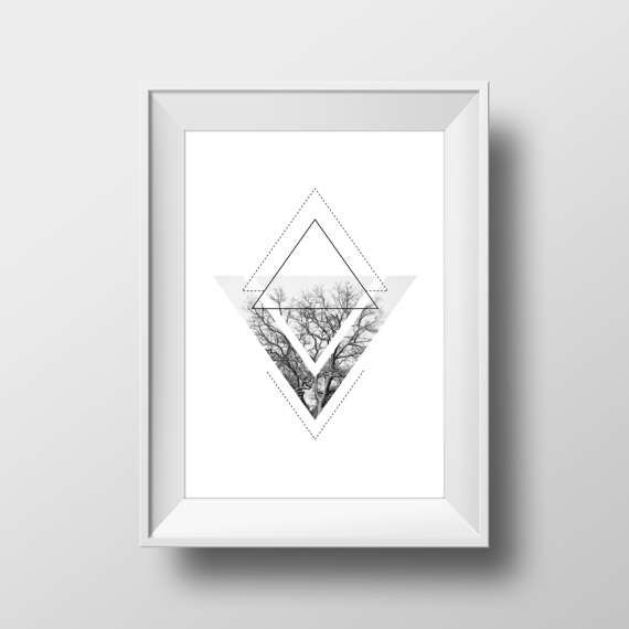 Printable Art Geometric Art Black and White by KYLprintable