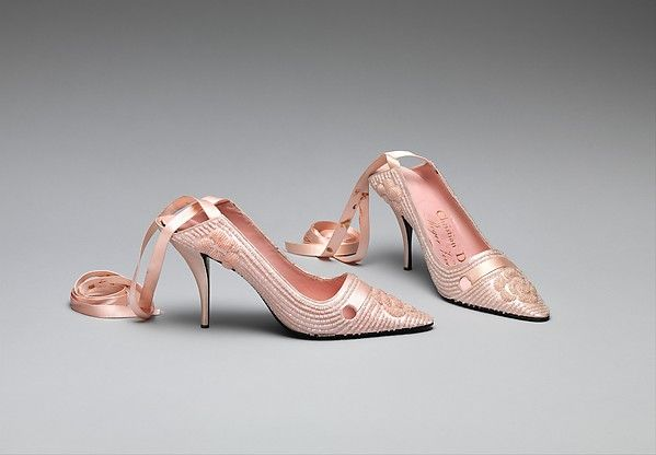 Evening shoes. House of Dior (French, founded 1947) Designed by Roger Vivier (French, 1913–1998) ca. 1957, silk, leather, glass.