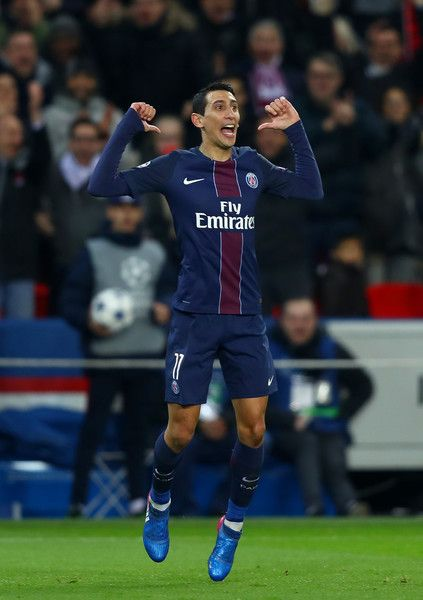 Angel Di Maria of Paris Saint-Germain celebrates after scoring his team's third goal during the UEFA Champions League Round of 16 first leg match between Paris Saint-Germain and FC Barcelona at Parc des Princes on February 14, 2017 in Paris, France.
