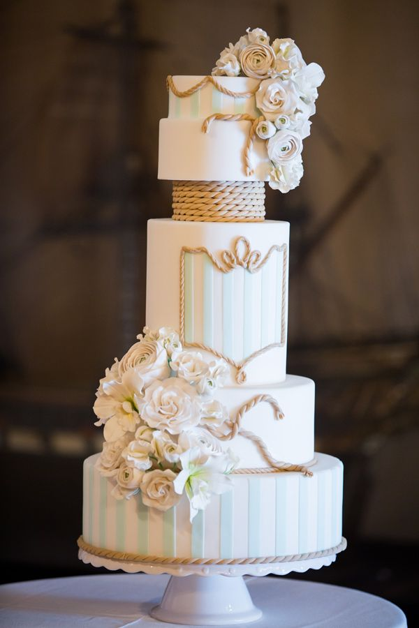 nautical inspired wedding cake // photo by Emma Cleary // cake by Elegantly Iced