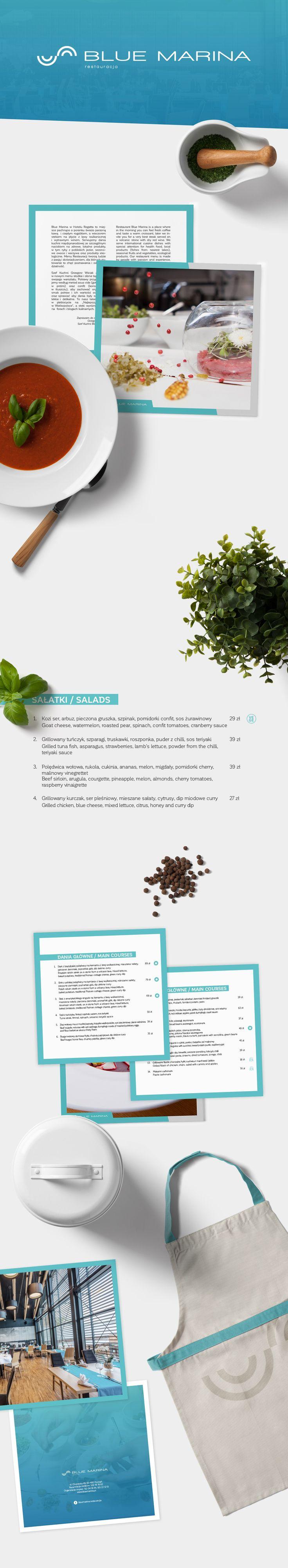 Projekt menu dla restauracji Bule Marina w Hotelu Regatta #branding #menu #menuconcept #menudesign