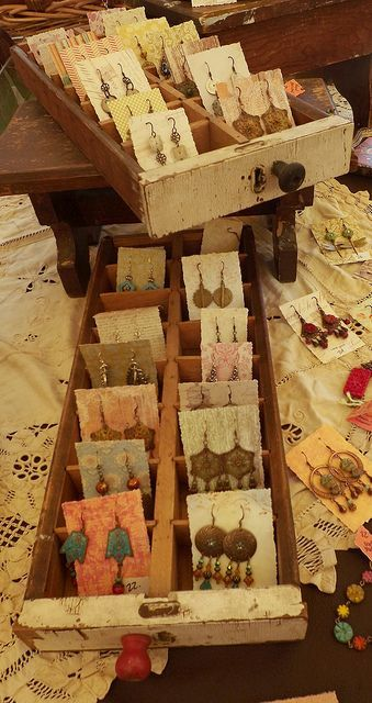 Awesome earring display idea - shallow drawers with separators, and earring pairs on little cards (wallpaper scraps)