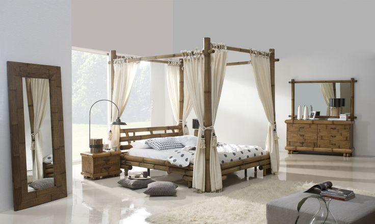 dormitorio de bambú modelo jimbaran con dosel