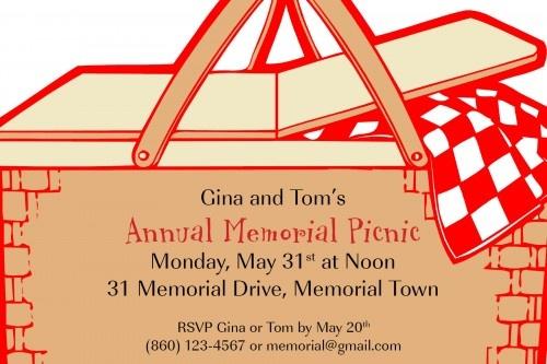 Custom picnic theme party invitation. I design it, you print it.