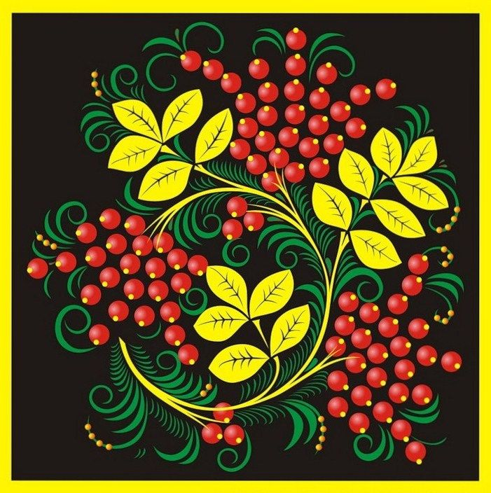 Folk Khokhloma painting from Russia. Pattern with leaves and red berries. #art #folk #painting #Russian