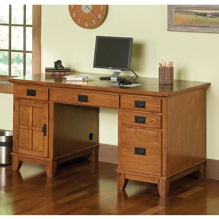 Arts and Crafts Double Pedestal Desk, Brown
