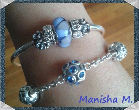 Pandora Bangle And 5 Clip Station Bracelet Blue Open Work