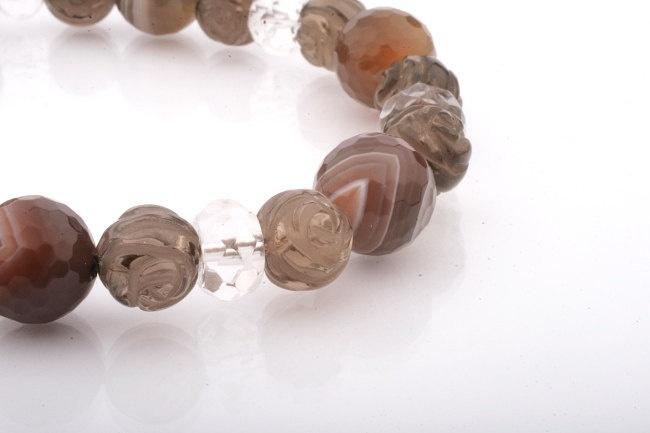 Brown Gemstone Bracelet. Quartz and Agate Hand-Knotted Bracelet.