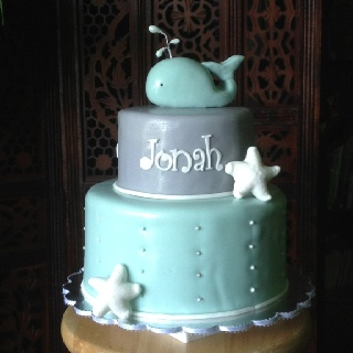Jonah and the Whale Baby Shower cake @Megan Forker