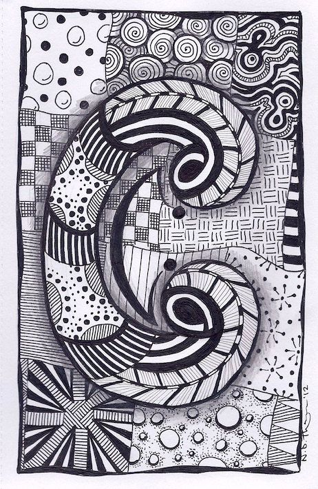 Zentangle Letter C ZebrA Letters name bunting por ForeverTangles