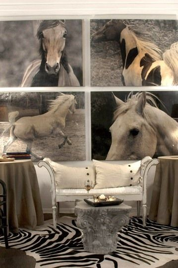 Dramatic horse art can make a huge statement in your home. | Stylish Western Home Decorating