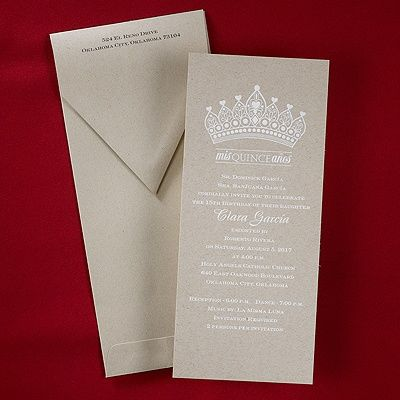 """Crowned In Elegance - Invitation   A white crown and """"Mis Quince Años"""" are at the top of this brown invitation.  Dimensions: 4"""" x 9 1/4""""• Price Includes: Printed invitation and blank double white envelopes • Production Time: 2 Working Days"""