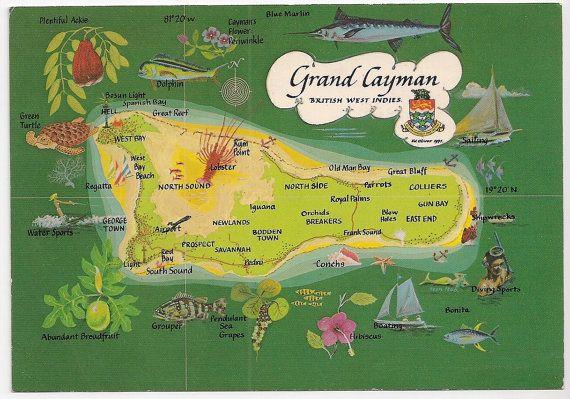 Grand Cayman Island Tourist Map Vintage Souvenir by VintagePackRat