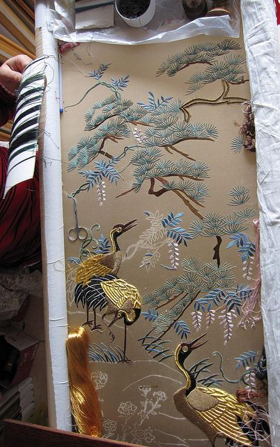 This is a reproduction of an antique embroidery panel, the stitch methods are unique and only several Chinese artists are able to do this