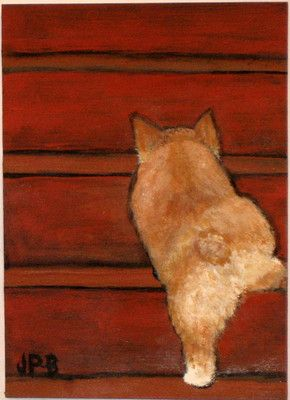 Original Collectible Art ACEO Welsh Corgi Painting OOAK Puppy Dogs by Jane. Z