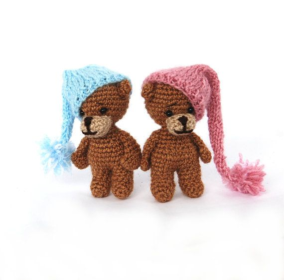 $21.38 crochet BROWN BEAR with night cap, boy bear and girl bear as baby #showergift or nursery decoration, stuffed animal doll, #amigurumi bear toy, handmade by crochAndi