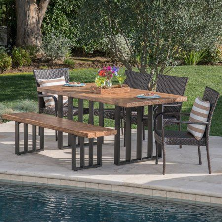 Lawrence Outdoor 6 Piece Wicker Dining Set with Light ...