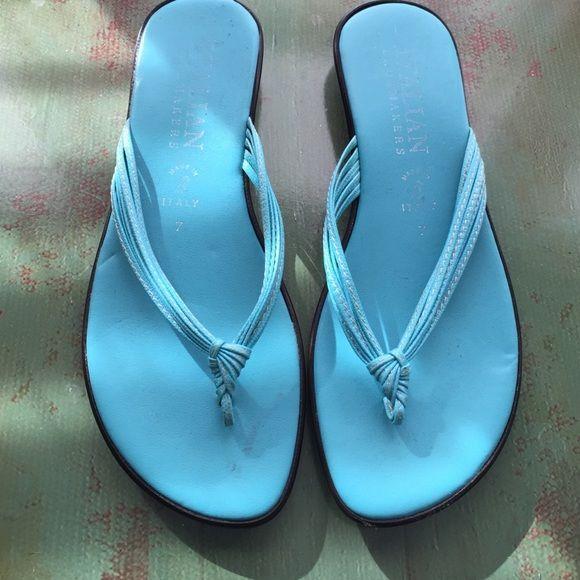 RED DOT SALEItalian shoe makers thong sandals Italian shoe makers thong sandals half inch heels turquoise color Italian shoe makers Shoes Sandals
