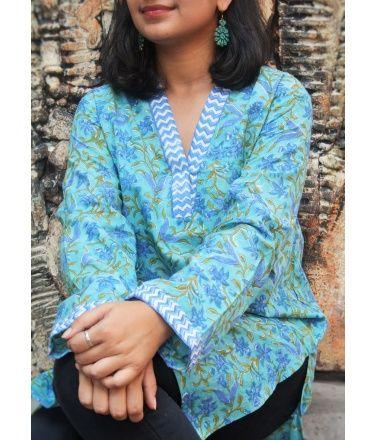 Blue floral short kurti
