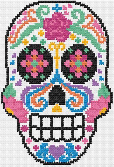PDF Sugar Skull Dia de Los Muertos Cross by LupineLaneDesign