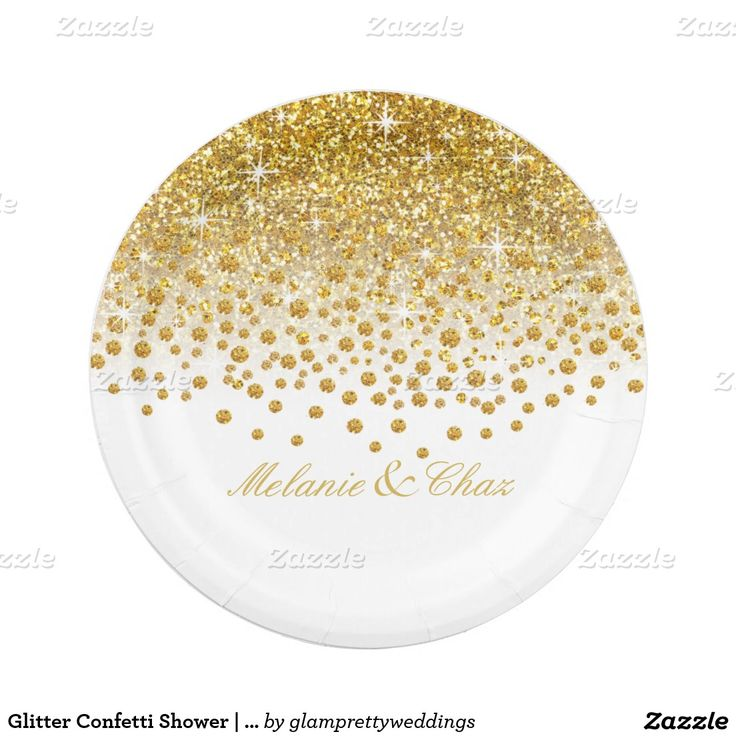 Glitter Confetti Shower | gold white Paper Plate  sc 1 st  Pinterest & 113 best Wedding Paper Plates images on Pinterest | Wedding paper ...