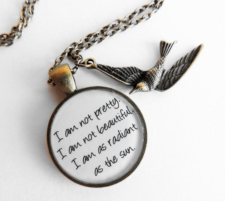 Hunger Games SPECIAL Debut- Katniss Everdeen Quote Pendant Necklace- I am as radiant as the sun. $15.00, via Etsy.