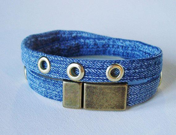 Jeannette recycelten Jeans - Ösen Farbe Messing Armband handgenäht mit Ösen Messing Farbe Anwendungen die Armband-Länge = 36 cm liebevolle Verschluss Messing 1,4 cm breit