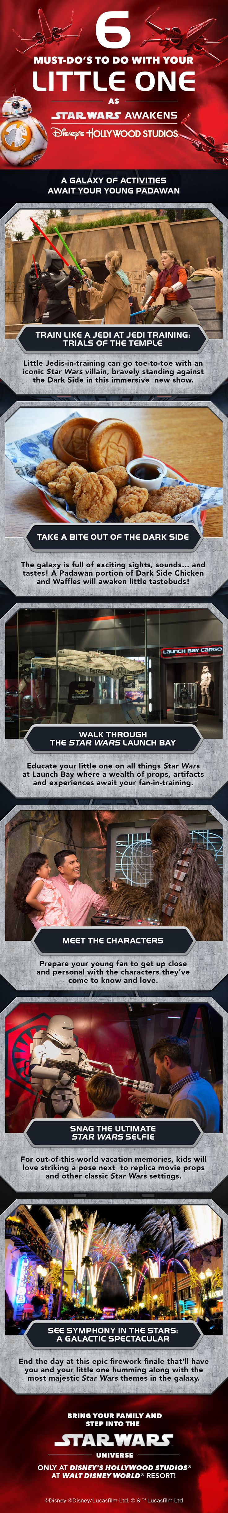 A galaxy of activities await your young Padawan at Walt Disney World Resort! Check out these '6 Must-Do's' with your little one as Star Wars Awakens at Disney's Hollywood Studios!