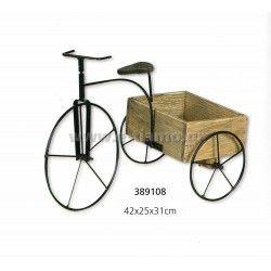 Διακοσμητικό Ξύλινο Μεταλλικό Καροτσάκι τρίκυκλο  Διάσταση: 42X25X31cm